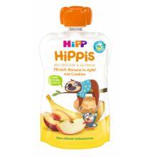 HiPP HiPPiS Alma-banán-őszibarack keksszel BIO desszert 1 éves kortól