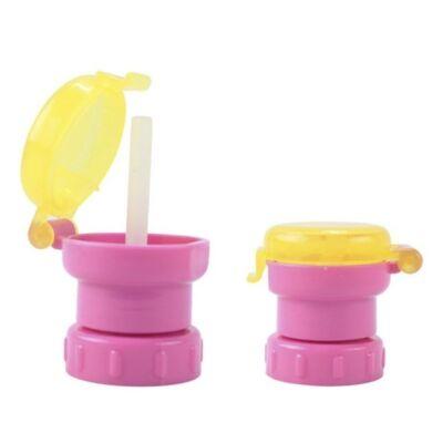 Visszazárható ivópalack-kiöntő és szívószál rózsaszín kupakkal és sárga fedővel