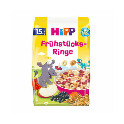 HiPP BIO Gyermek puffasztott reggeliző gyűrűk 15 hó 135g