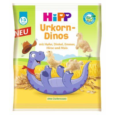 HiPP BIO puffasztott gabonás ropogtatnivaló Dínó figurák 1-3 éves kor között 30g