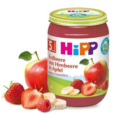 HiPP BIO Gyümölcspüré eper, málna, alma 5 hónapos kortól 190 g