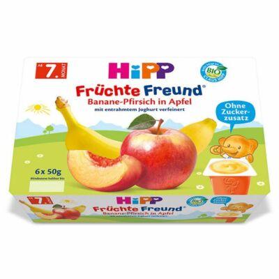 HiPP BIO Gyümölcspép banán-őszibarack-alma 7 hónapos kortól 6x50g