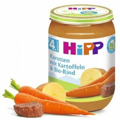 HiPP BIO Sárgarépa burgonyával és BIO marhahússal 4 hónapos kortól 190g