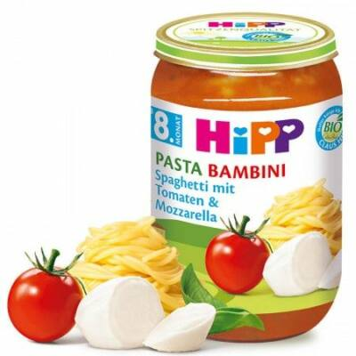 HiPP BIO PASTA BAMBINI  Spagetti-paradicsom-mozzarella 8 hónapos kortól 220g