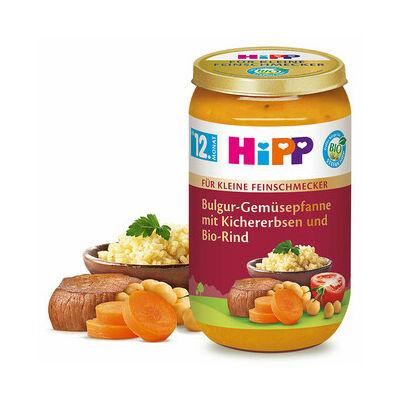 HiPP BIO Bulgur-serpenyős zöldségek Csicseriborsóval és Marhahússal 12 hónapos kortól 250g