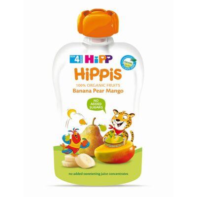 HiPP HiPPiS BIO Banán-körte-mangó gyümölcspép bébiétel 4 hónapos kortól 100 g