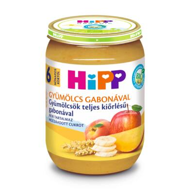 HiPP BIO Gyümölcs Gabonával ,Gyümölcsök teljes kiőrlésű gabonával bébiétel 6 hó 190g