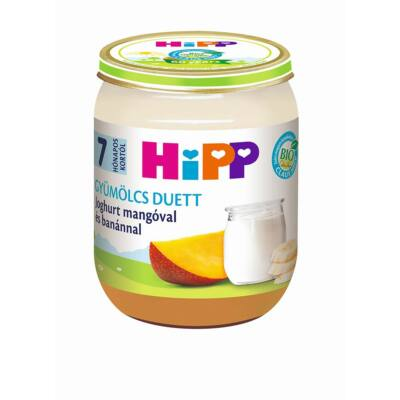 HiPP BIO Joghurt mangóval és banánnal gyümölcs duett bébiétel